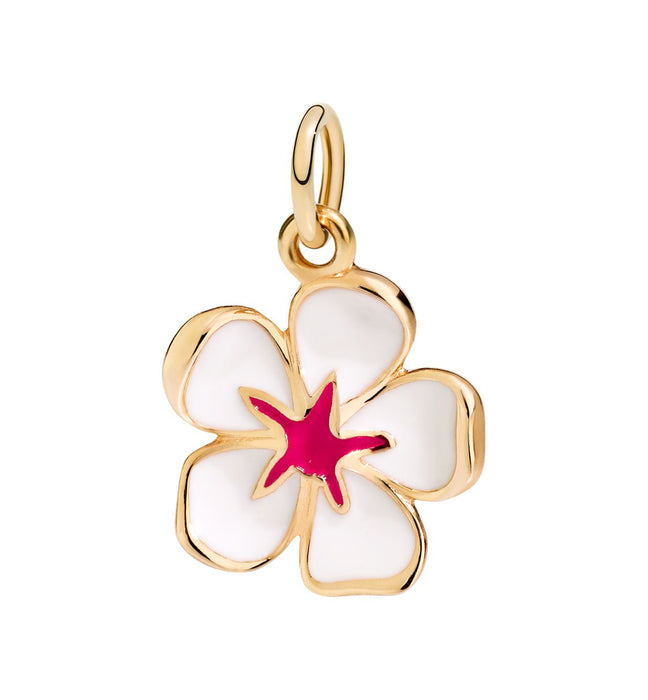 DoDo Charm Cherry Blossom in 18k Yellow Gold with White Enamel