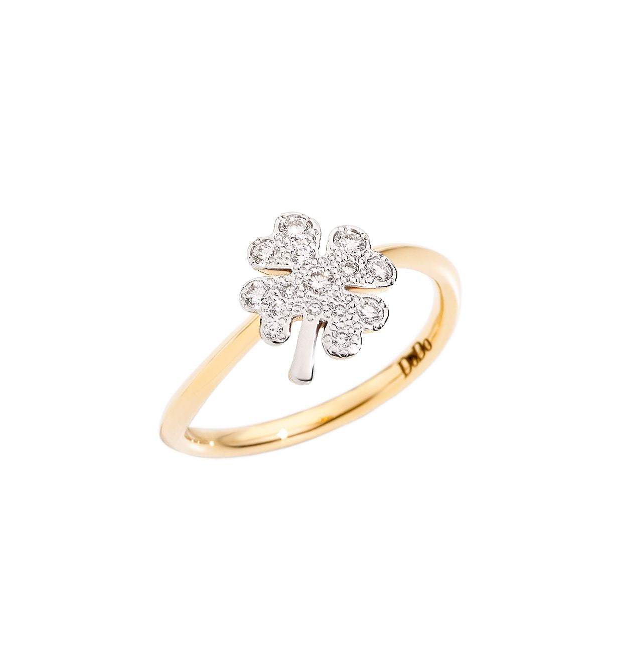 DoDo Four Leaf Clover Ring in 18k Yellow Gold with Diamonds - large - Orsini Jewellers NZ