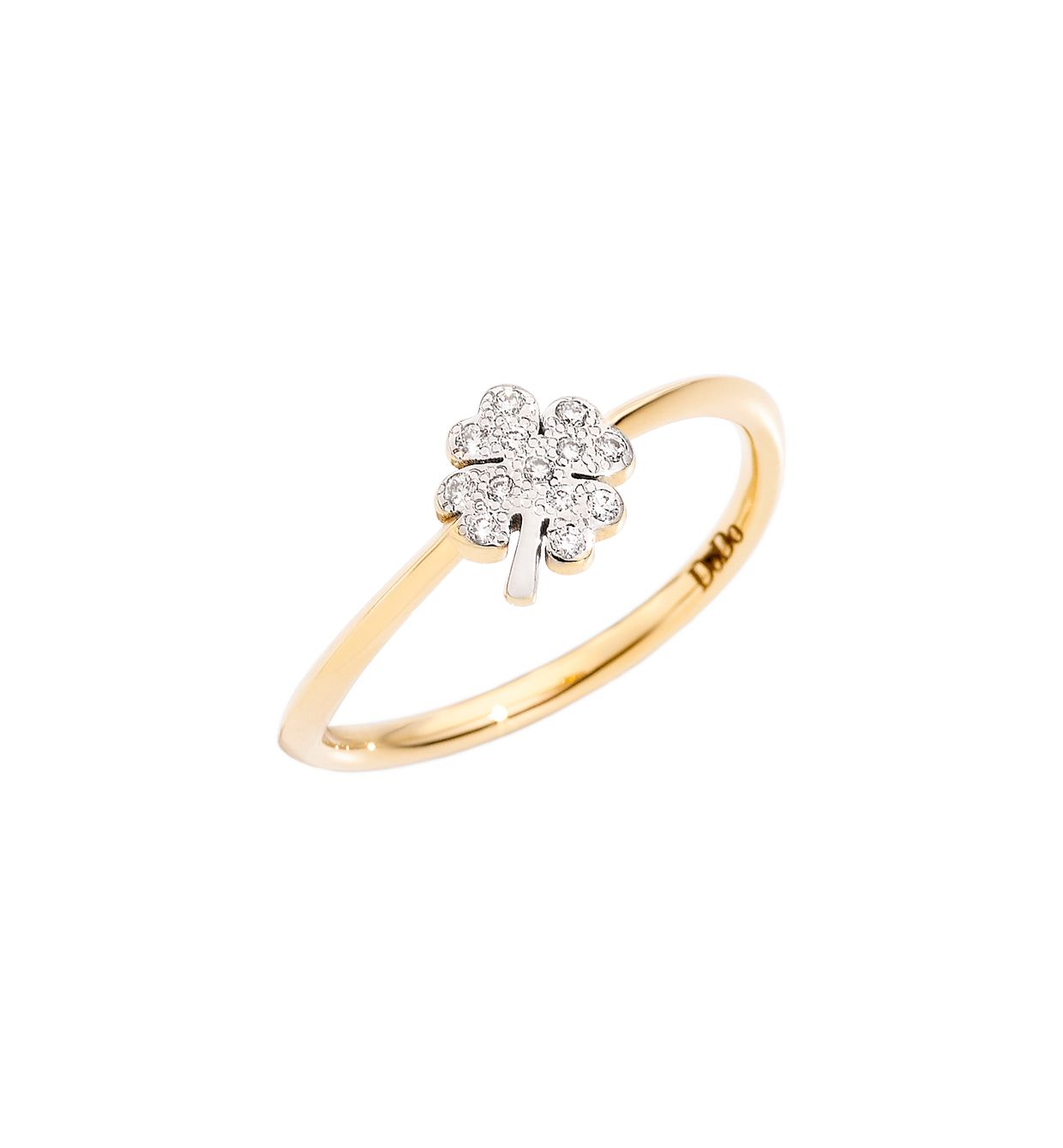 DoDo Four Leaf Clover Ring in 18k Yellow Gold with White Diamonds - mini - Orsini Jewellers NZ