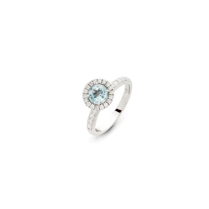 Colori Ring in 18k White Gold with Blue Topaz and Diamonds