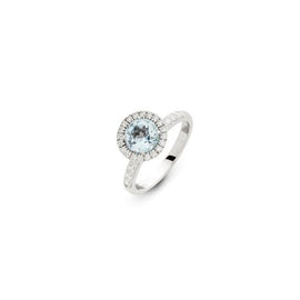 Colori Ring in 18k White Gold with Blue or White Topaz and Diamonds