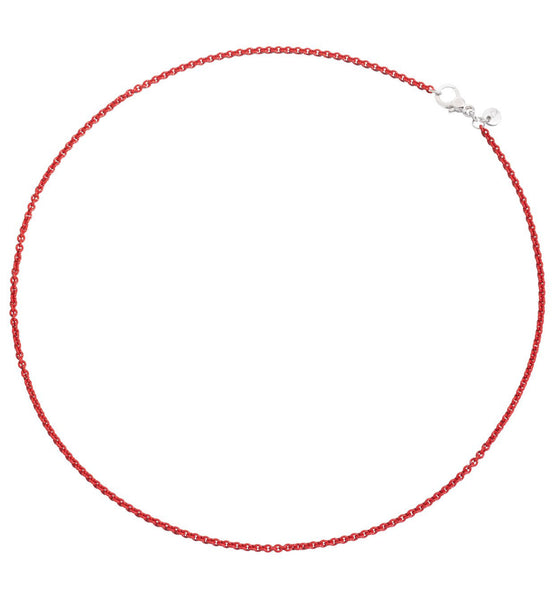 Coral Red Silver Chain 45cm