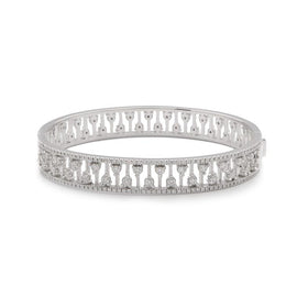 Crystal Rose Bangle in 18k White Gold with Diamonds
