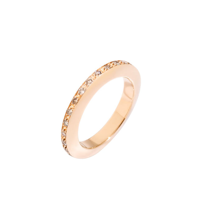 DoDo Disc Ring in 9k Rose Gold with Brown Diamonds