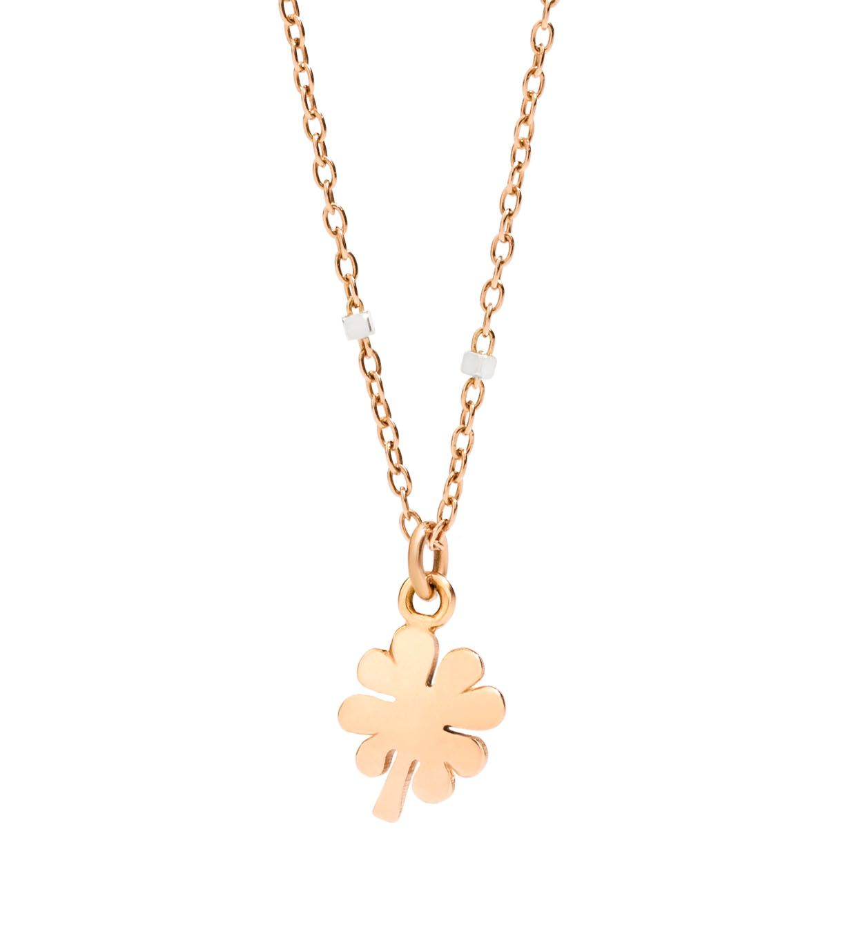 DoDo Mini Four Leaf Clover Necklace in 9k Rose Gold and 9k White Gold - Orsini Jewellers NZ