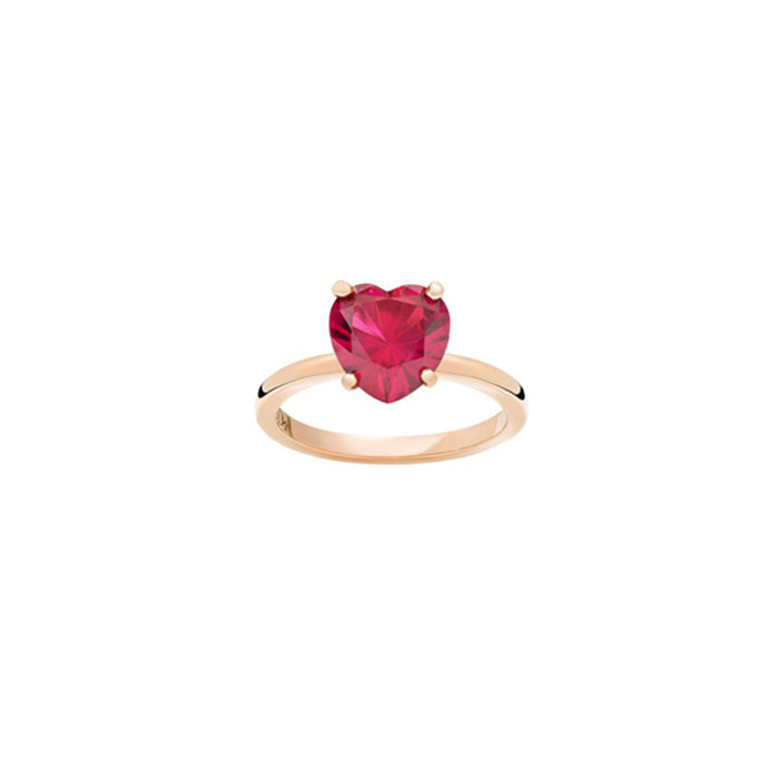 Dodo 100% Amore Ring in 9k Rose Gold with Synthetic Ruby
