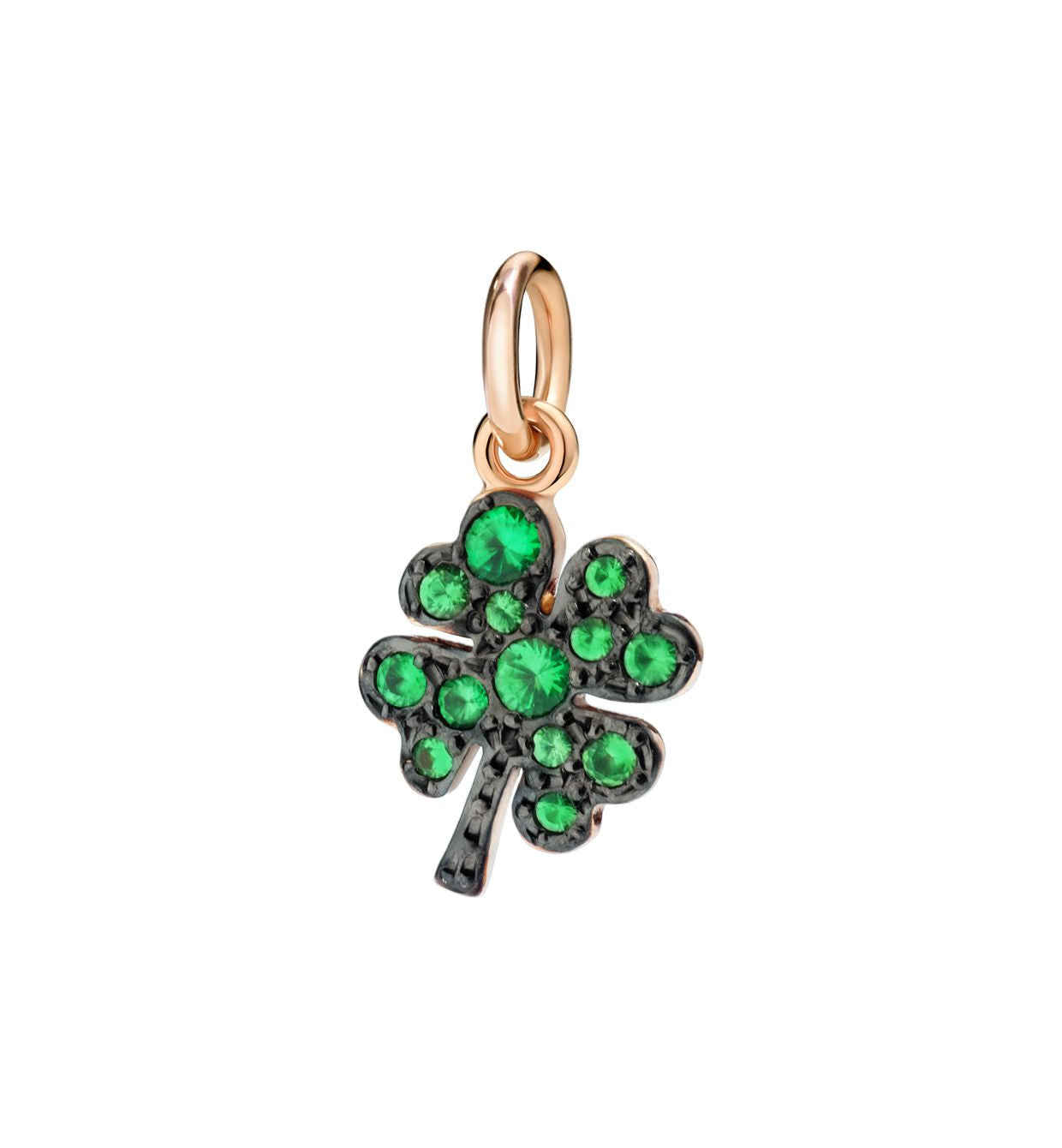 DoDo Four Leaf Clover in 9k Rose Gold with Tsavorites (Black rhodium-plated) - Orsini Jewellers NZ