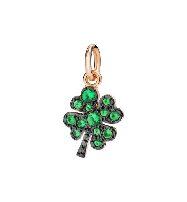 DoDo Four Leaf Clover in 9k Rose Gold with Tsavorites (Black rhodium-plated)