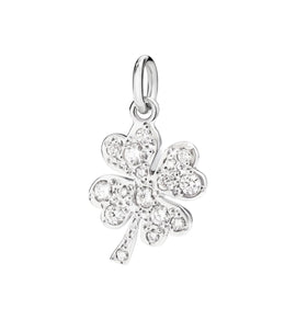 DoDo Four Leaf Clover in 18k White Gold with Diamonds