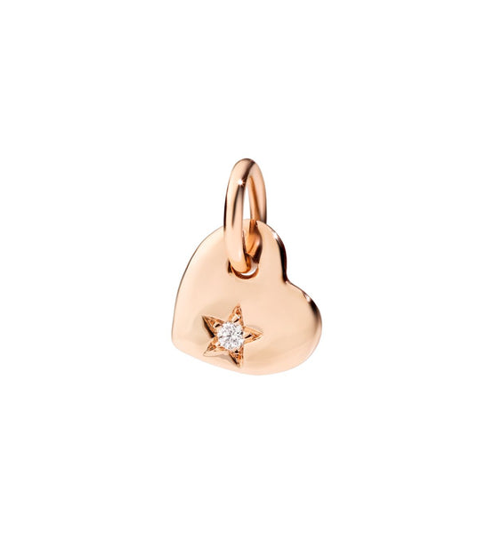 Dodo Heart Charm Rose Gold and White Diamond