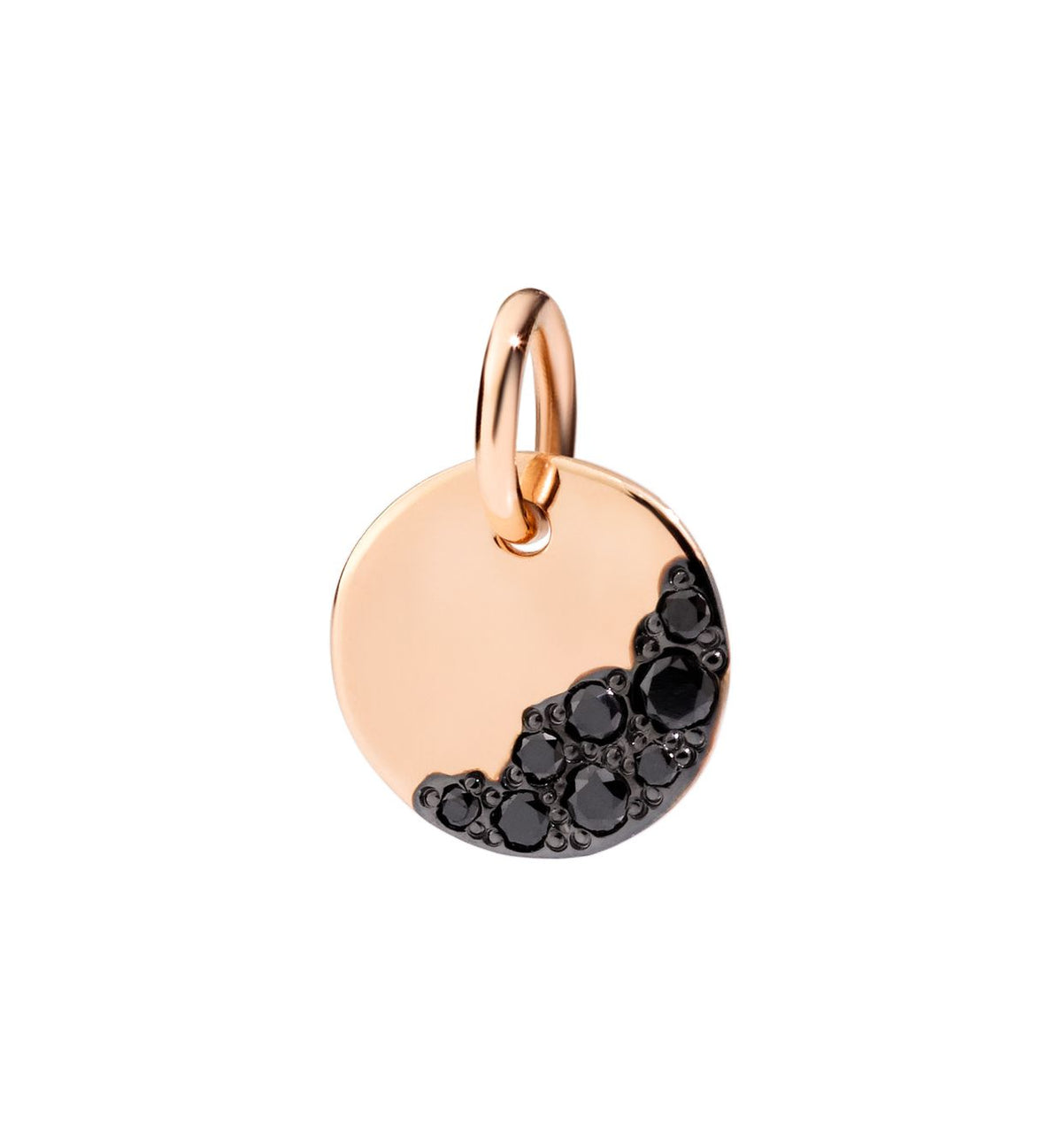 DoDo Precious Tag Charm Night in 9k Rose Gold with Black Diamonds