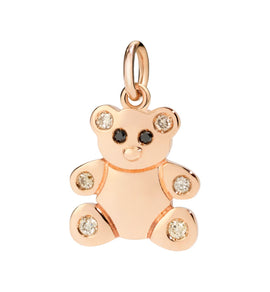 DoDo Teddy Bear in 9kt Rose Gold with Brown Diamonds and Black Diamonds