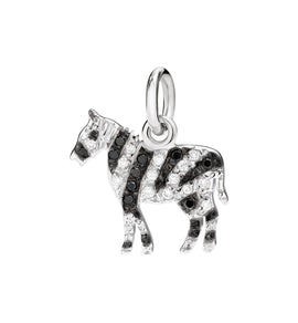 DoDo Zebra in 18k White Gold with White and Black Diamonds