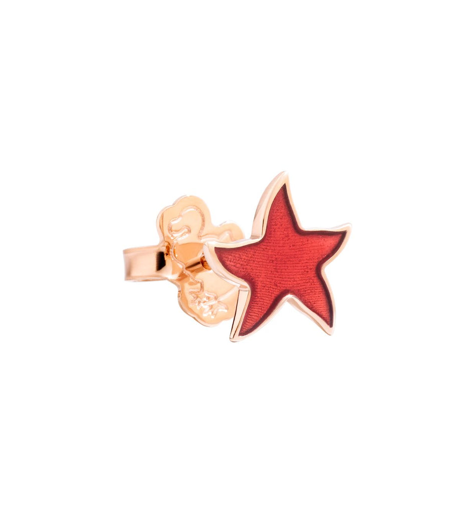 Dodo Starfish Earrings in 9k Rose Gold and Coral Enamel