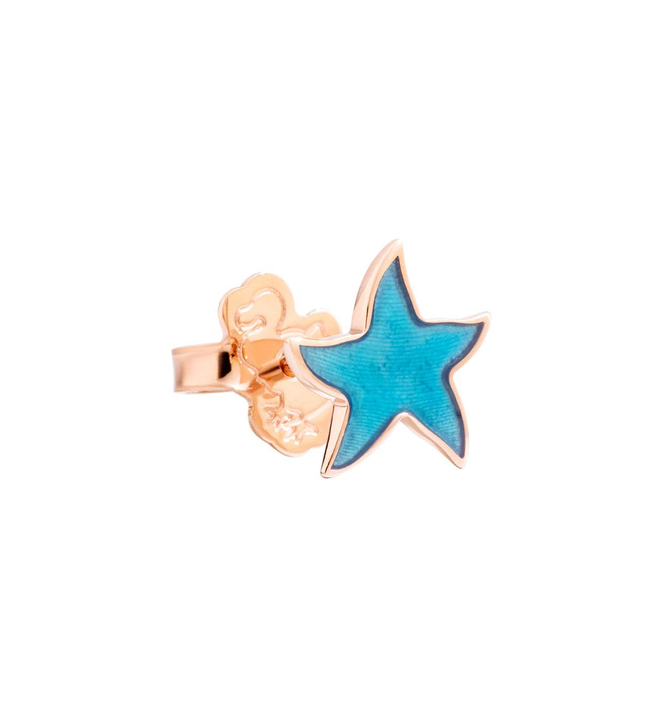 Dodo Starfish Earrings in 9k Rose Gold and Turquoise Enamel