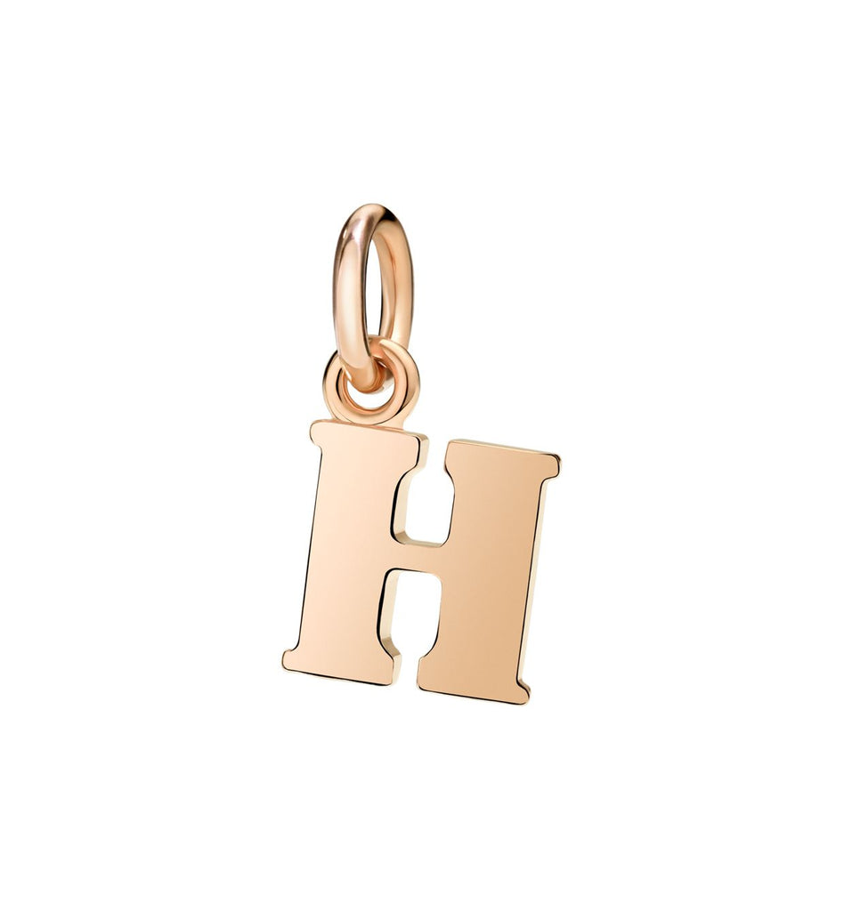 Dodo Letter H Charm in 9k Rose Gold