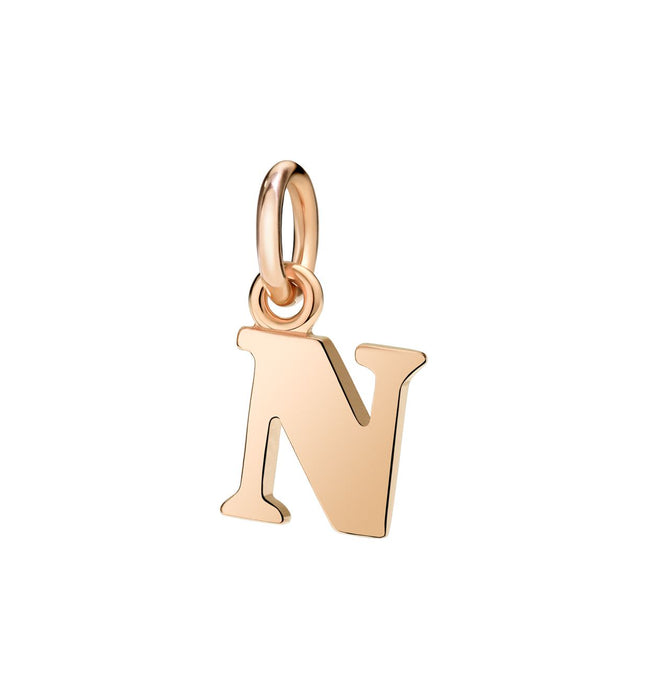Dodo Letter N Charm in 9k Rose Gold