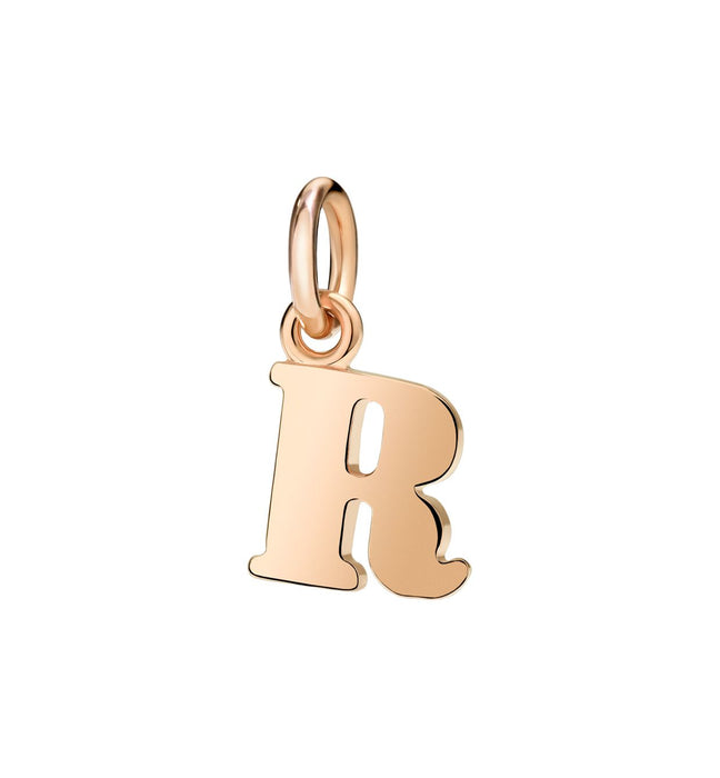 Dodo Letter R Charm in 9k Rose Gold