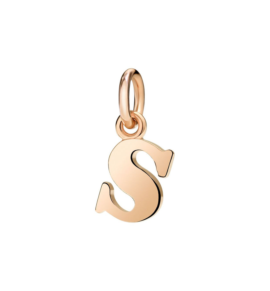 Dodo Letter S Charm in 9k Rose Gold