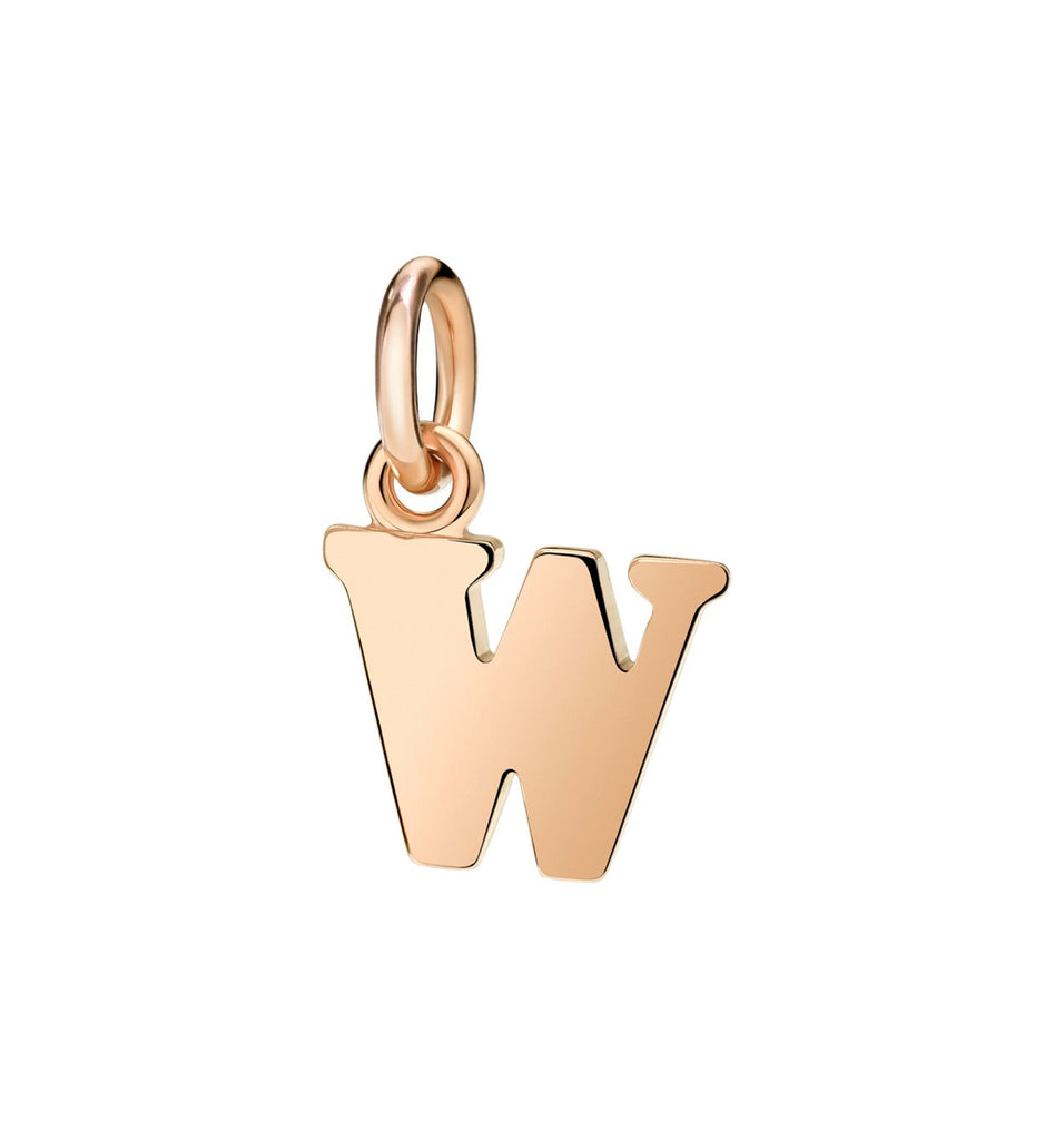 Dodo Letter W Charm in 9k Rose Gold