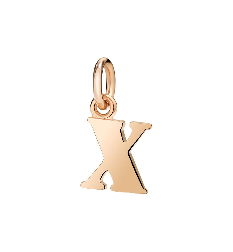 Dodo Letter X Charm in 9k Rose Gold