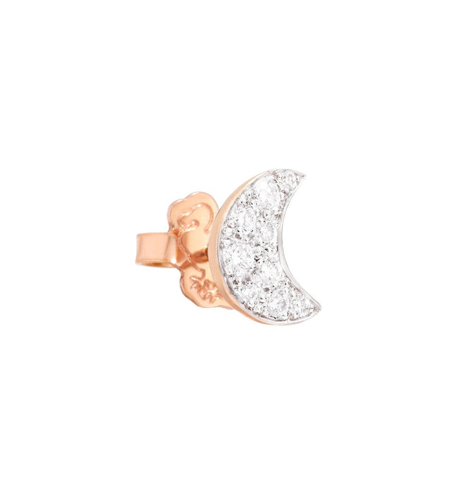 Dodo Moon Earrings in 9k Rose Gold and White Diamonds