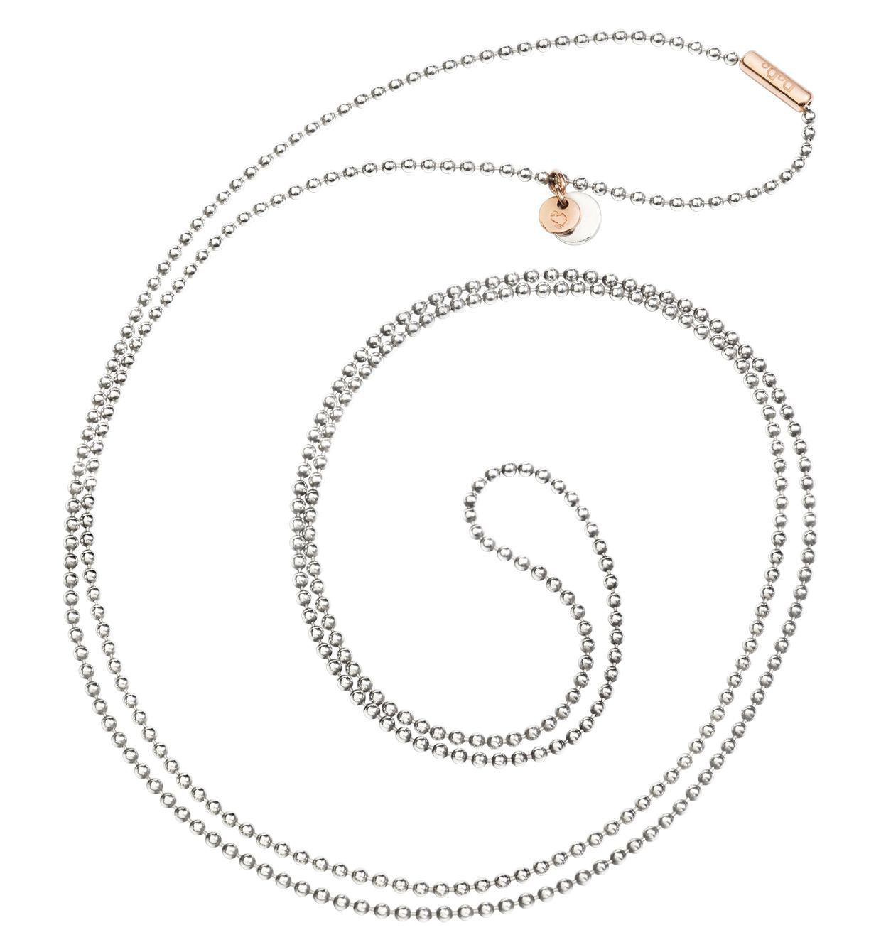 Dodo Bollicine Necklace in Silver with 9k Rose Gold Medallion - Orsini Jewellers NZ
