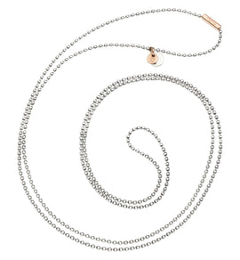 Dodo Bollicine Necklace in Silver with 9k Rose Gold Medallion