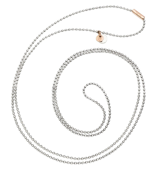 Dodo Everyday Necklace Silver with clasp in 9kt Rose Gold 90cm