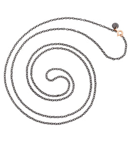 Dodo Necklace in Titanium with 9k Rose Gold Clasp 80cm