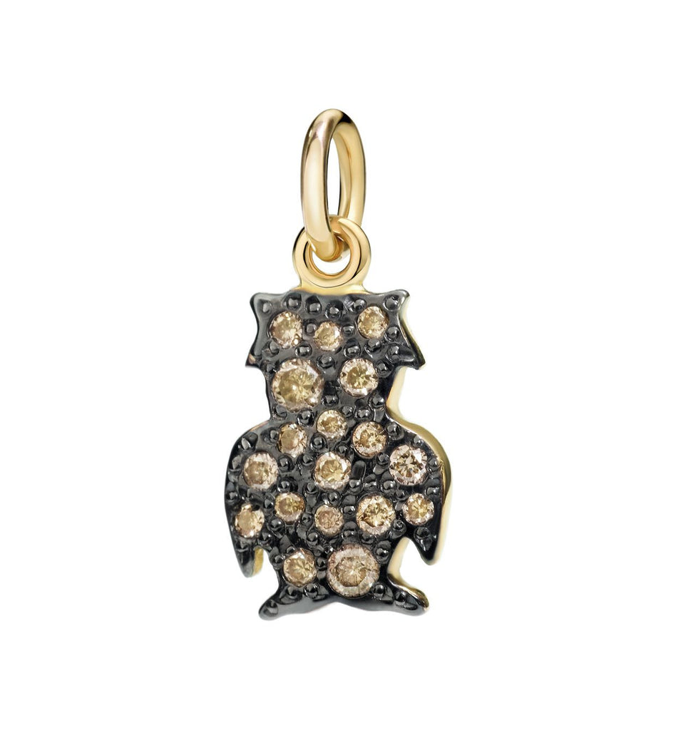 "Dodo Brown Diamond Owl Charm ""I love the night"""