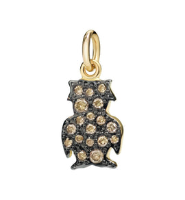 DoDo Owl in 18kt Yellow Gold with Brown Pave Diamonds
