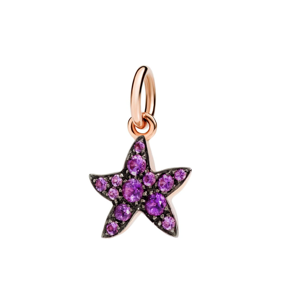 "Dodo Amethyst Starfish Charm ""Handle with care"""