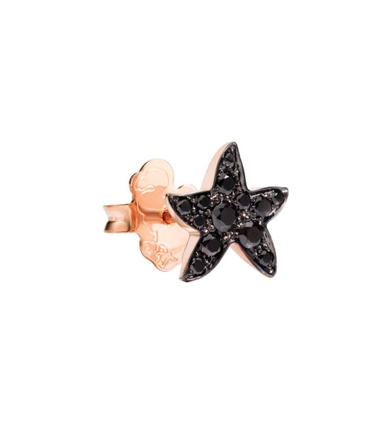 "Dodo Black Diamond Rose Gold Starfish Earrings ""Handle with care"""
