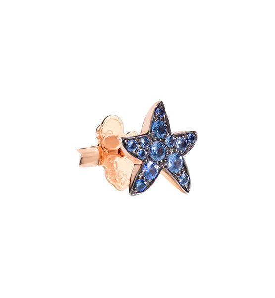 "Dodo Blue Sapphire Rose Gold Starfish Earrings ""Handle with care"""