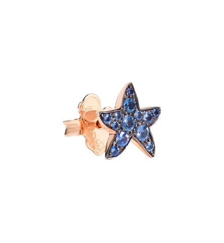 Dodo Blue Sapphire Rose Gold Starfish Earrings