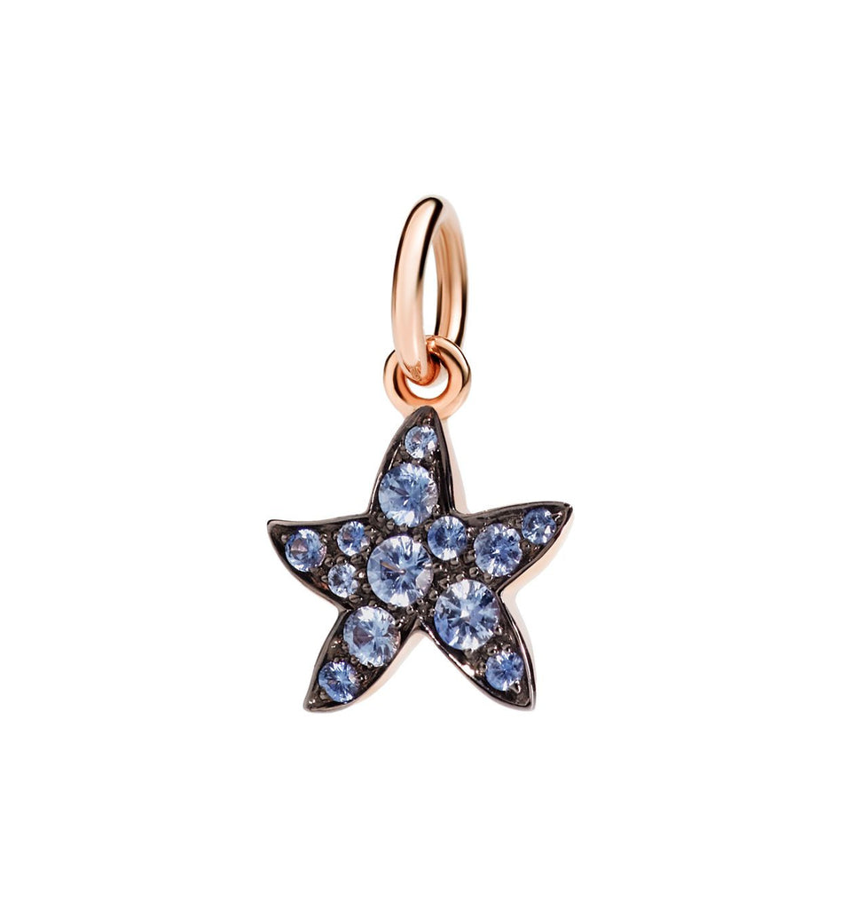 "Dodo Blue Sapphire Starfish Charm ""Handle with care"""