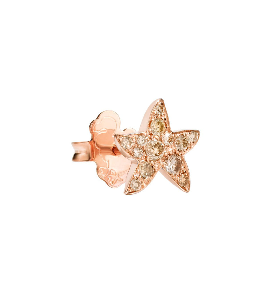 "Dodo Brown Diamond Rose Gold Starfish Earrings ""Handle with care"""