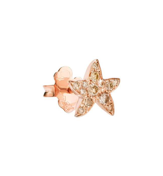 Dodo Starfish Earrings in 9k Rose Gold and Brown Diamonds