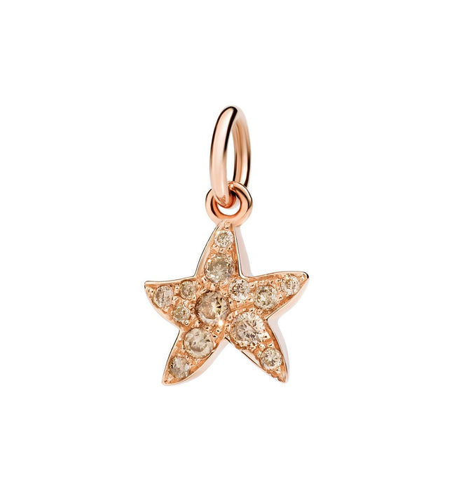 "Dodo Brown Diamond Starfish Charm ""Handle with care"""