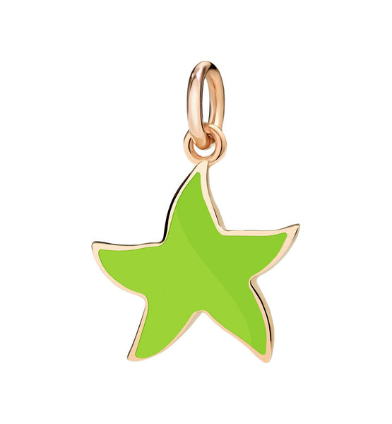 "Dodo Green Enamel Starfish Charm ""Handle with care"""