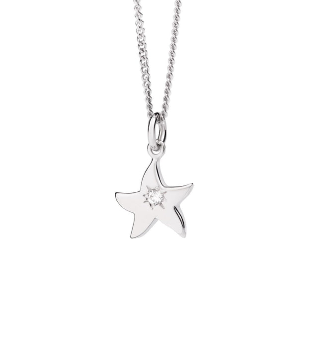 DoDo Petit Starfish Necklace in 18k White Gold with Diamond