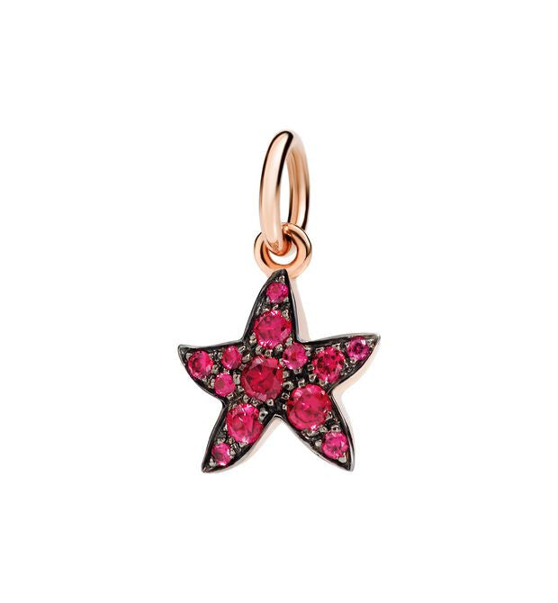 "Dodo Ruby Starfish Charm ""Handle with care"""
