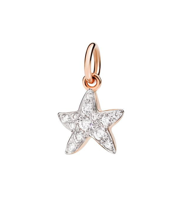 "Dodo White Diamond Rose Gold Starfish Charm ""Handle with care"""