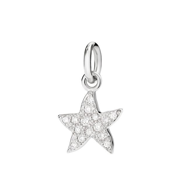 "Dodo White Diamond White Gold Starfish Charm ""Handle with care"""