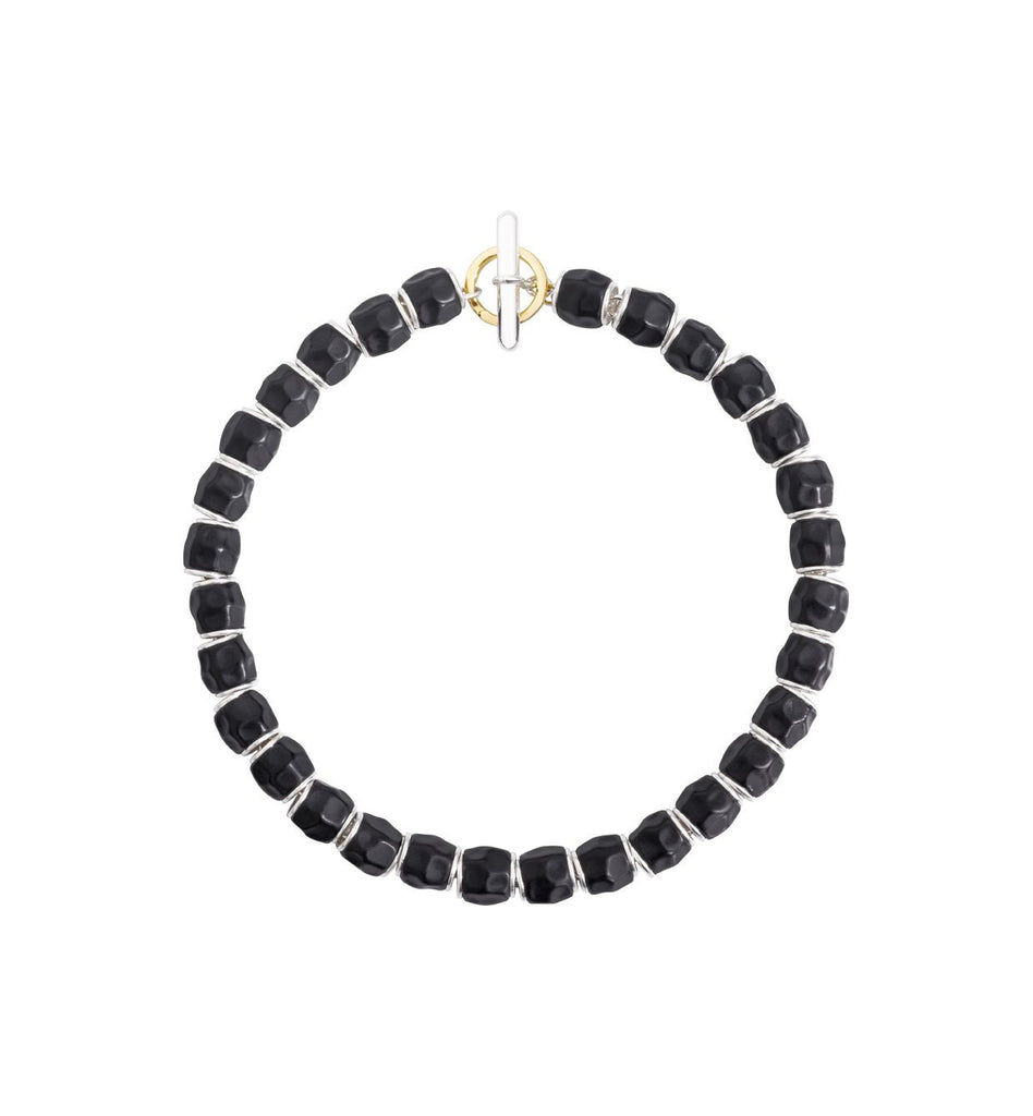 Bracelet kit with silver and black resin beads