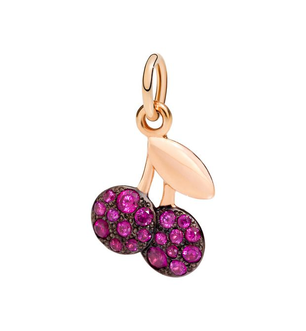 DoDo Charm Cherry in 9k Rose Gold with Rubies