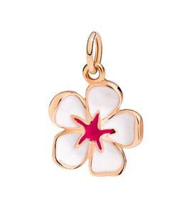 DoDo Charm Cherry Blossom in 9k Rose Gold with White Enamel