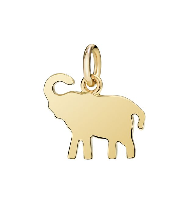 "Dodo Elephant Charm Yellow Gold ""Don't forget me"""