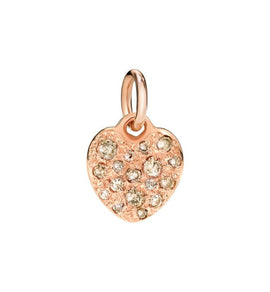 Dodo Heart Charm in 9k Rose Gold with Brown Diamonds